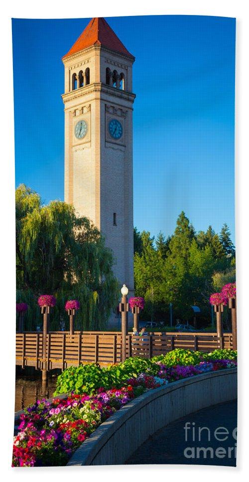 America Hand Towel featuring the photograph Spokane Clocktower by Inge Johnsson