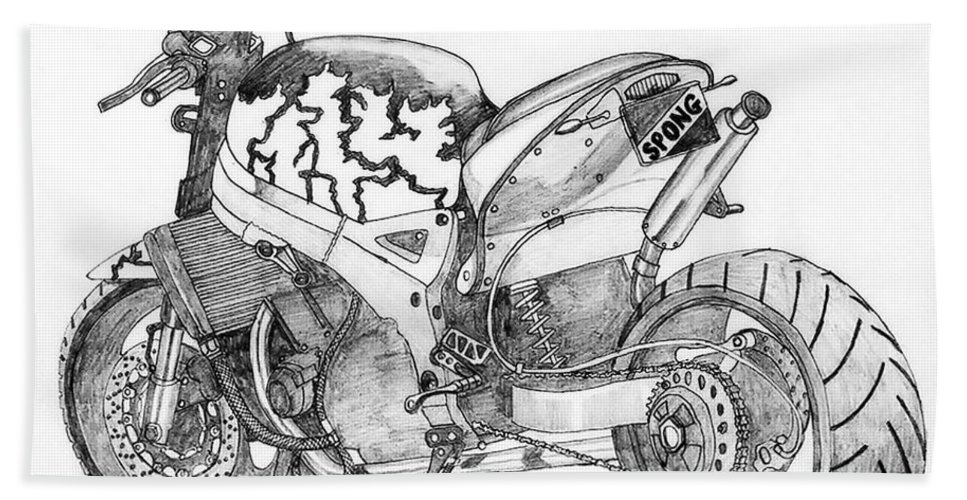Motorbike Bath Sheet featuring the drawing Spong by Stephen Brooks