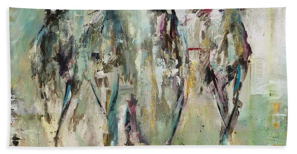 Abstract Horse Art Bath Sheet featuring the painting Spooked by Frances Marino