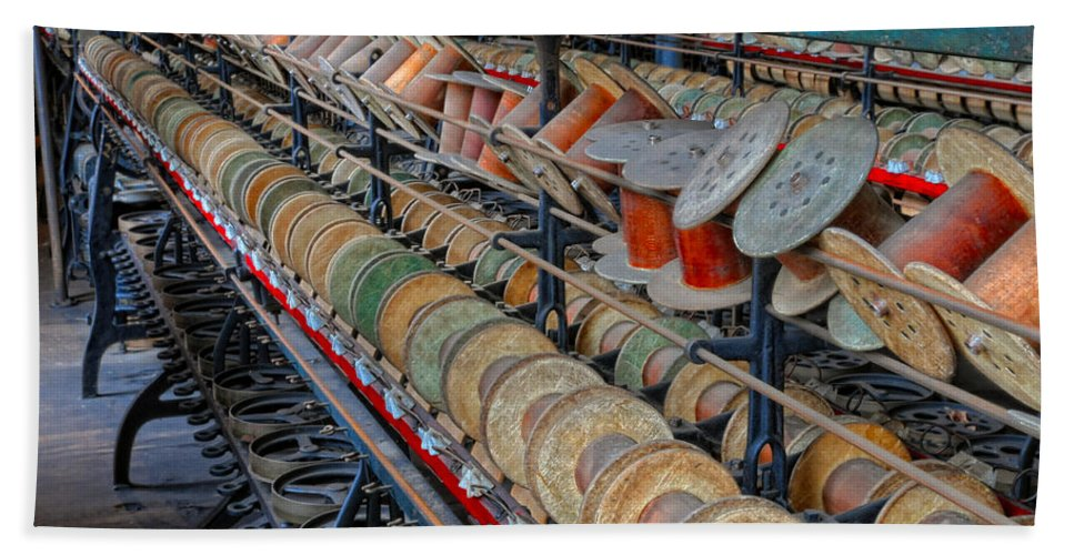 Spools Hand Towel featuring the photograph Spools At Lonaconing Silk Mill by Dave Mills