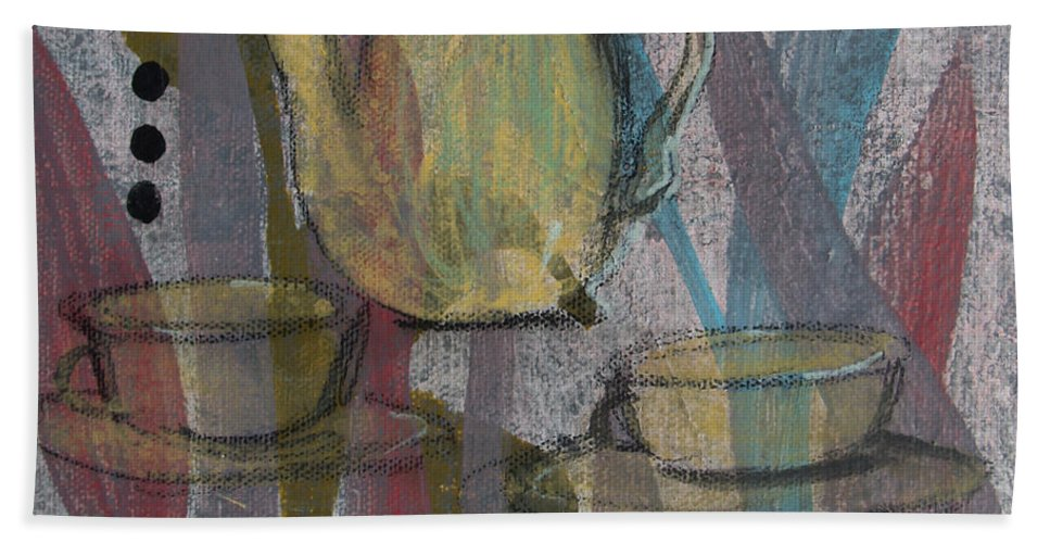 Rea Hand Towel featuring the painting Spot Of Tea by Robin Maria Pedrero