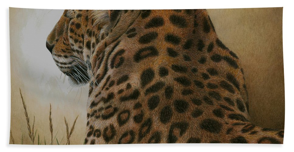 Leopard Hand Towel featuring the painting Spotted Elegance by Pat Erickson
