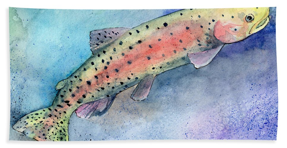 Trout Bath Sheet featuring the painting Spotted Trout by Sean Parnell