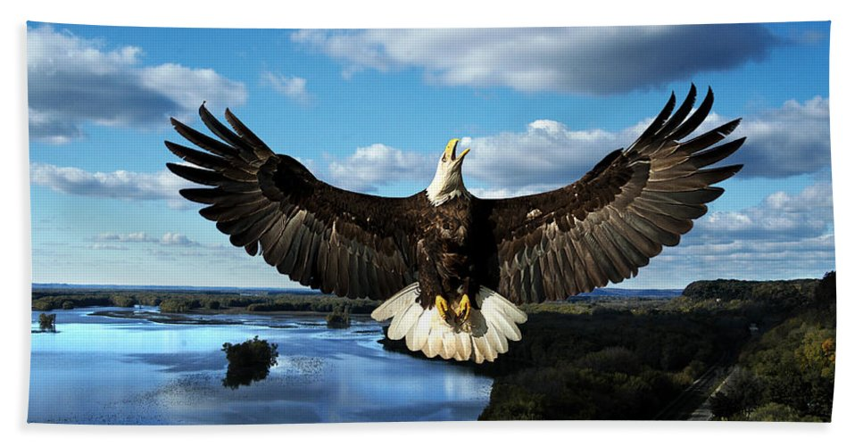 Cliffhanger Hand Towel featuring the photograph Spread Eagle Mississippi River by Randall Branham