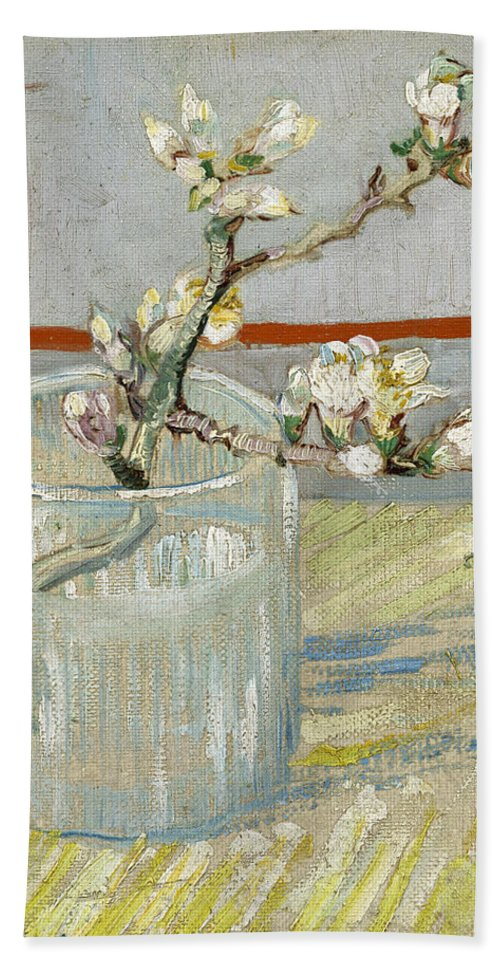 Sprig Of Flowering Almond In A Glass Hand Towel For Sale By Vincent