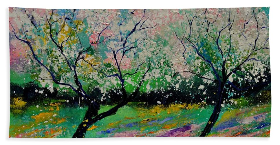 Landscape Bath Sheet featuring the painting Spring 452121 by Pol Ledent