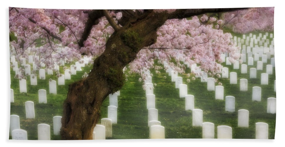 America Hand Towel featuring the photograph Spring Arives At Arlington National Cemetery by Susan Candelario
