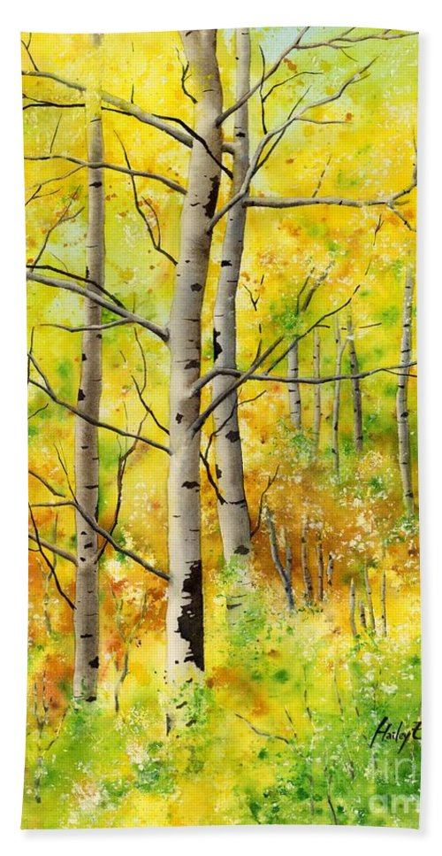 Trees Hand Towel featuring the painting Spring Aspens by Hailey E Herrera