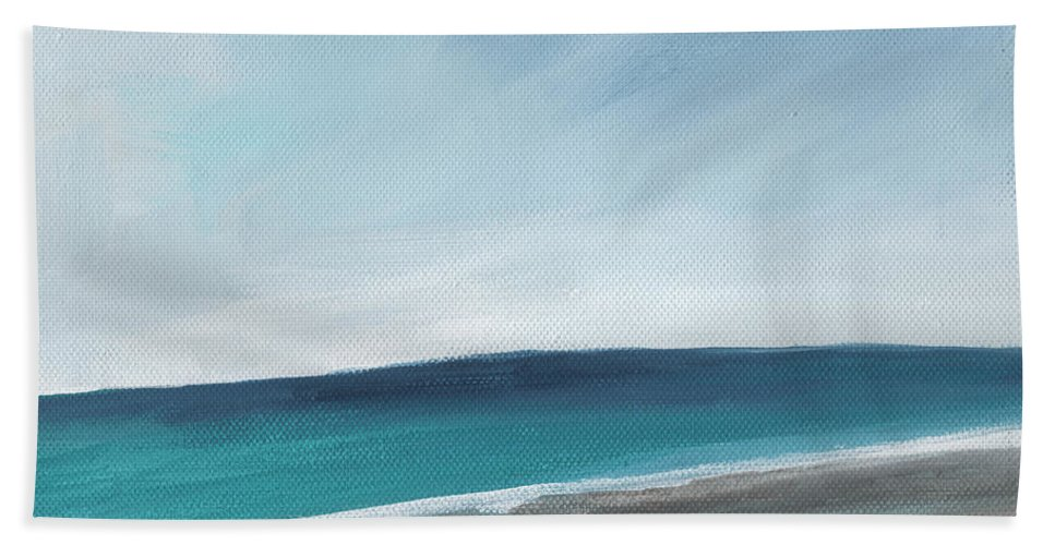 Beach Hand Towel featuring the painting Spring Beach- Contemporary Abstract Landscape by Linda Woods