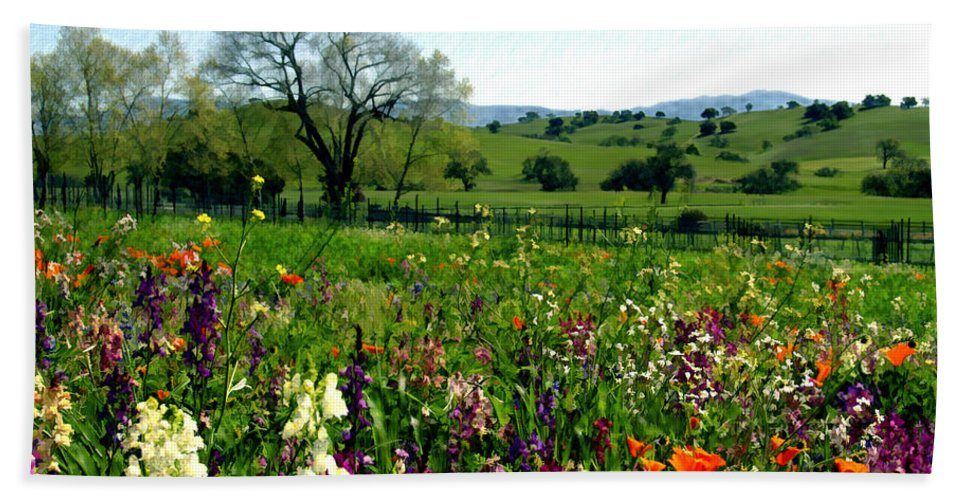 Flowers Bath Sheet featuring the photograph Spring Bouquet At Rusack Vineyards by Kurt Van Wagner