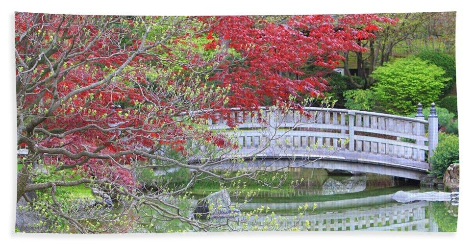 Japanese Garden Hand Towel featuring the photograph Spring Color Over Japanese Garden Bridge by Carol Groenen