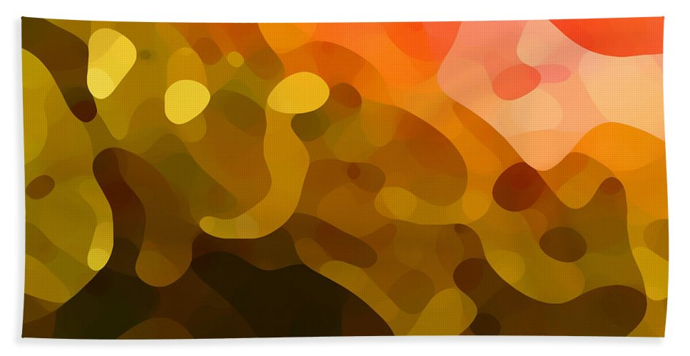 Abstract Hand Towel featuring the painting Spring Day by Amy Vangsgard