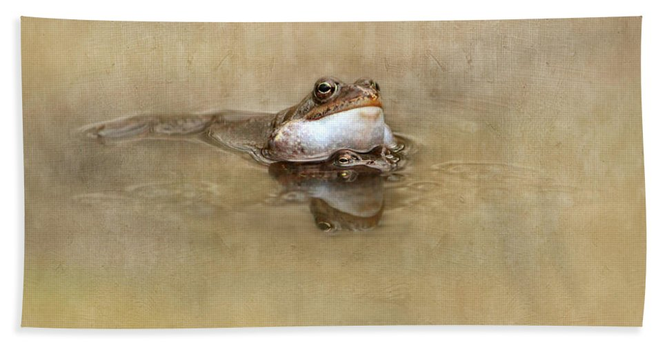 Toad Bath Sheet featuring the mixed media Spring Feelings by Heike Hultsch