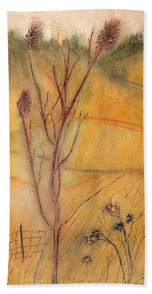Spring Hand Towel featuring the drawing Spring Fields by Ian MacDonald
