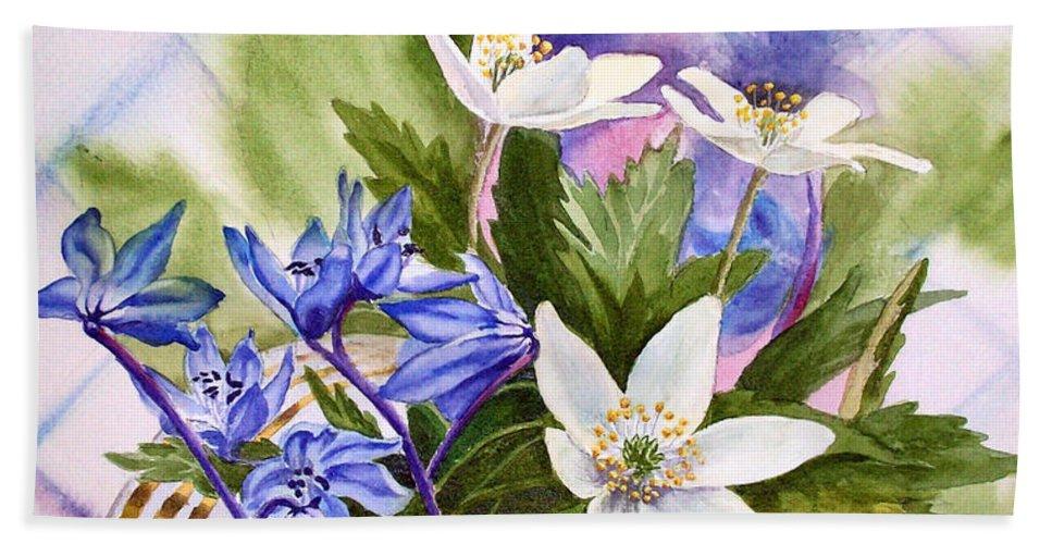 Flowers Hand Towel featuring the painting Spring Flowers by Irina Sztukowski