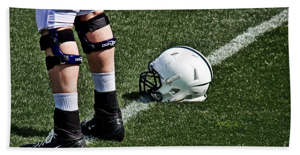 The Penn State Nittany Lions Hand Towel featuring the photograph Spring Football by Tom Gari Gallery-Three-Photography