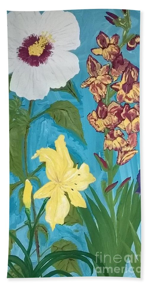 Spring Hand Towel featuring the painting Spring Garden by Kelly Delvalle
