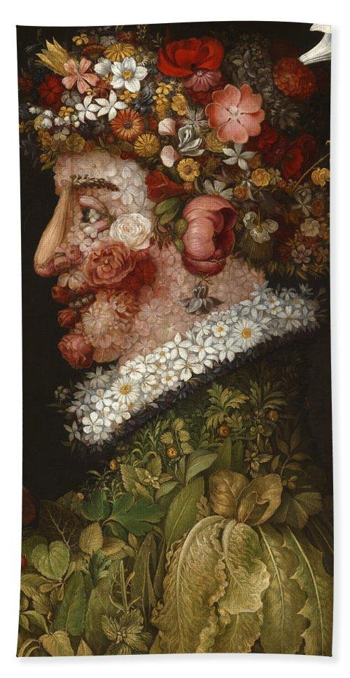 Giuseppe Arcimboldo Bath Sheet featuring the painting Spring by Giuseppe Arcimboldo