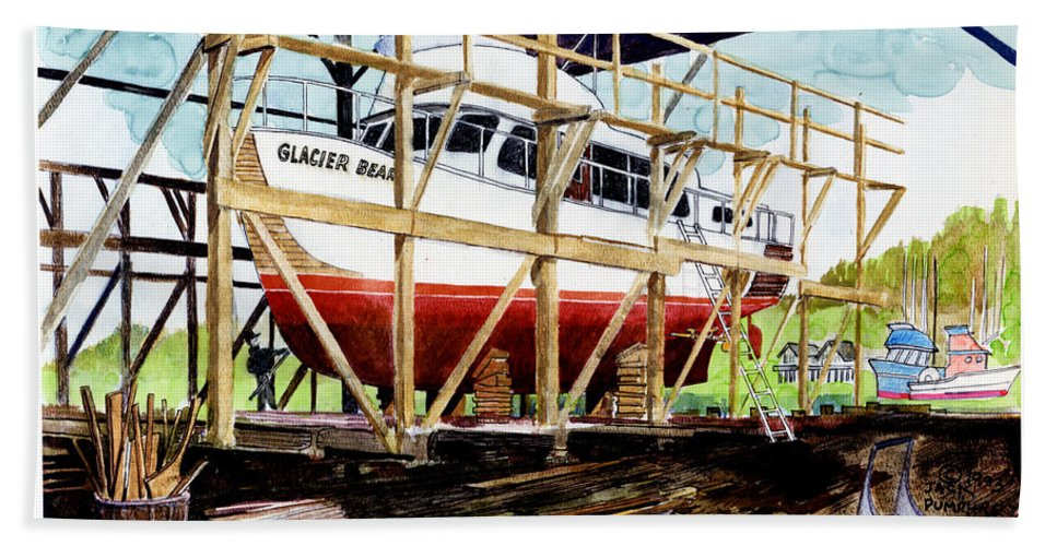 Marinas Bath Sheet featuring the painting Yacht Glacier Bear Hauled Out In Gig Harbor by Jack Pumphrey