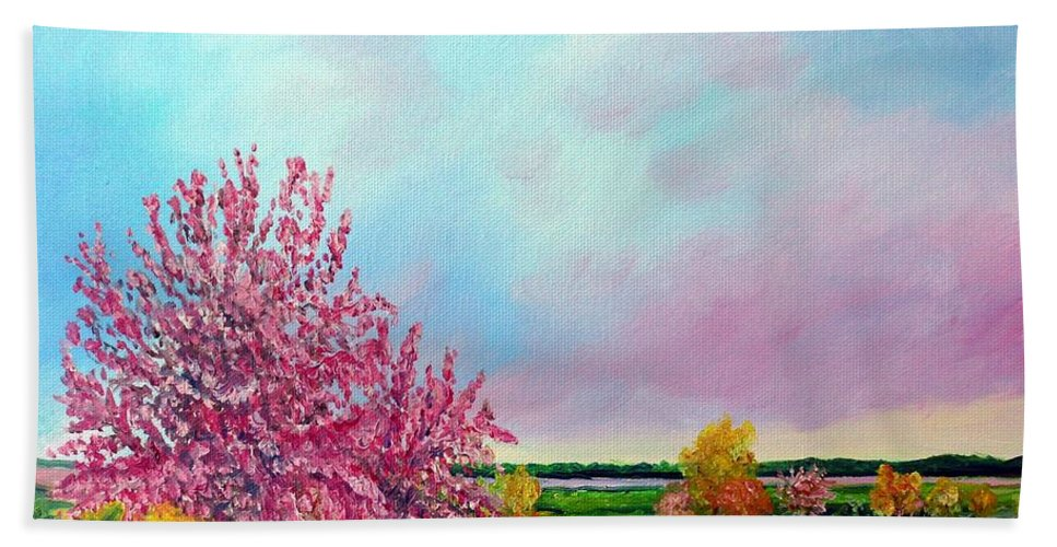 Spring Bath Sheet featuring the painting Spring In Bloom by Julie Brugh Riffey