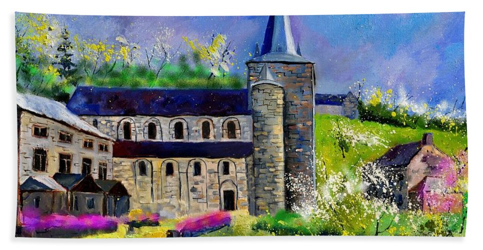 Landscape Hand Towel featuring the painting Spring In Celles by Pol Ledent