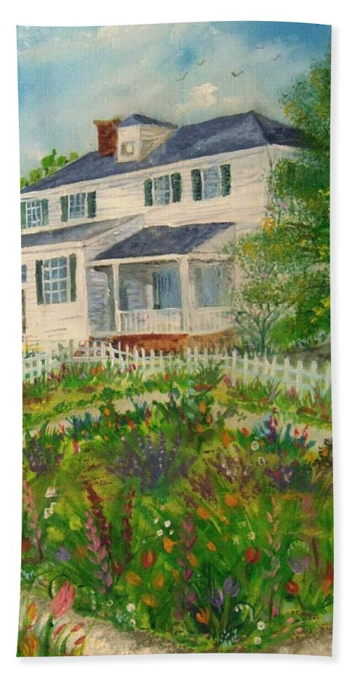 Colonial Williamsburg Hand Towel featuring the painting Spring In Colonial Williamsburg- Cole House by Nicole Angell
