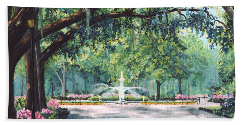 Savannah Bath Towel featuring the painting Spring In Forsythe Park by Stanton Allaben