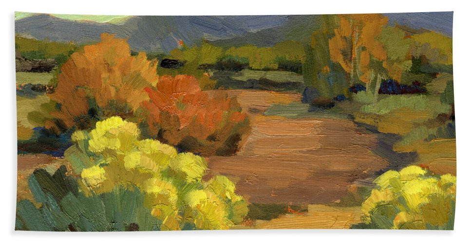Spring Bath Sheet featuring the painting Spring In Santa Fe by Diane McClary