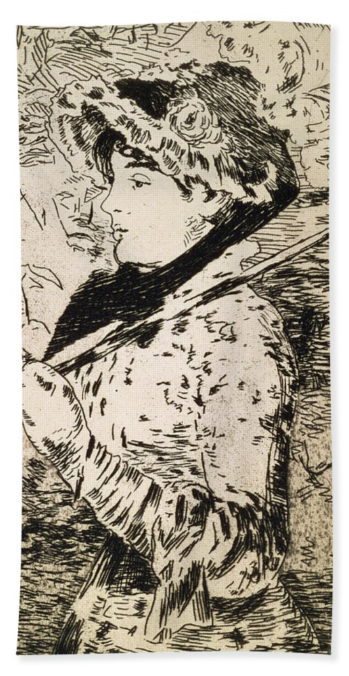 Woman Hand Towel featuring the drawing Spring  Jeanne by Edouard Manet