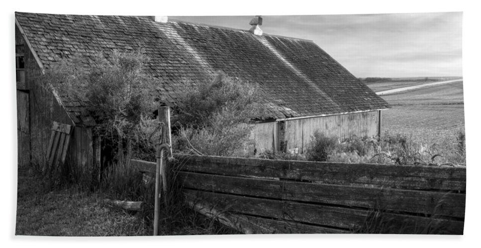 Barns Hand Towel featuring the photograph Spring Light - Black And White by Nikolyn McDonald
