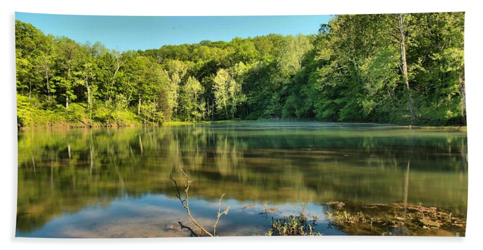 Spring Mill Lake Bath Sheet featuring the photograph Spring Mill Lake by Adam Jewell