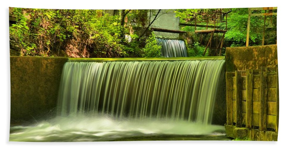 Spring Mill State Park Bath Sheet featuring the photograph Spring Mill Spillway by Adam Jewell