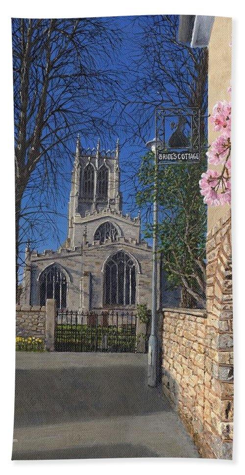 Landscape Bath Towel featuring the painting Spring Morning Brides Cottage Tickhill Yorkshire by Richard Harpum