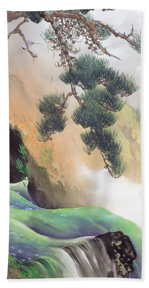 Yamamoto Shunkyo Hand Towel featuring the painting Spring Of Mountain by Yamamoto Shunkyo