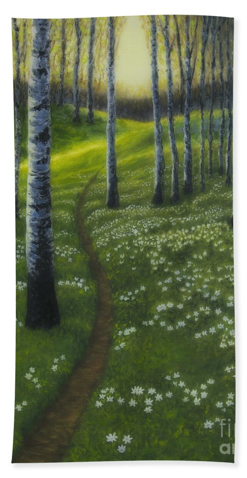 Art Hand Towel featuring the painting Spring Path by Veikko Suikkanen