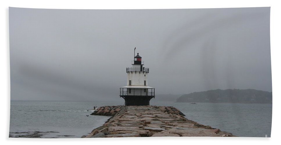 Lighthouse Hand Towel featuring the photograph Spring Point Ledge Lighthouse by Christiane Schulze Art And Photography