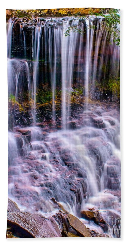 Waterfall Bath Sheet featuring the photograph Spring Runoff At The Falls by Nick Zelinsky