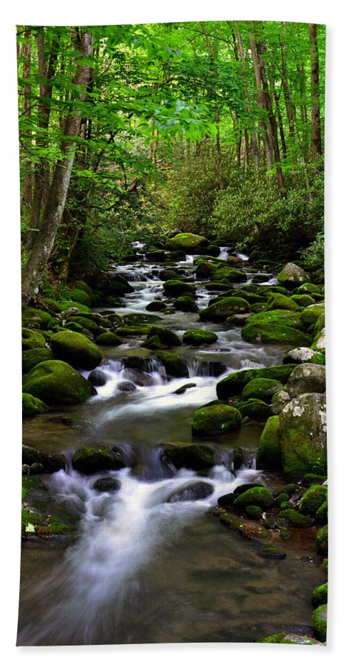 Smoky Mountains Bath Sheet featuring the photograph Spring Runoff by David Lee Thompson