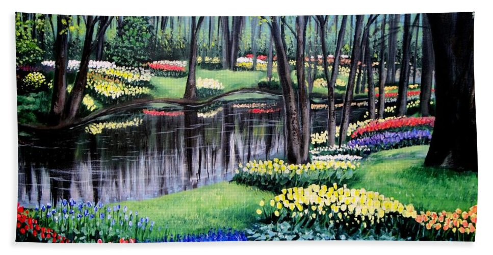Garden Bath Sheet featuring the painting Spring Spendor Tulip Garden by Patricia L Davidson