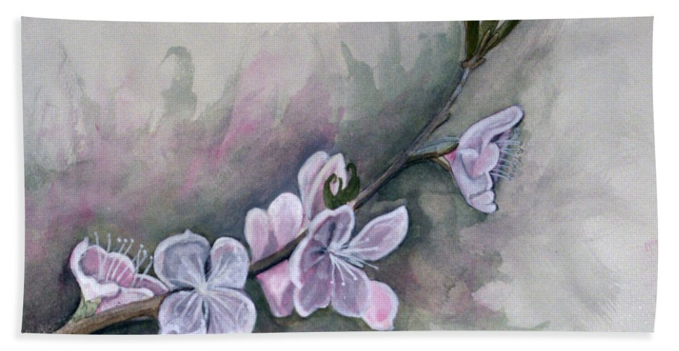 Rick Huotari Hand Towel featuring the painting Spring Splendor by Rick Huotari