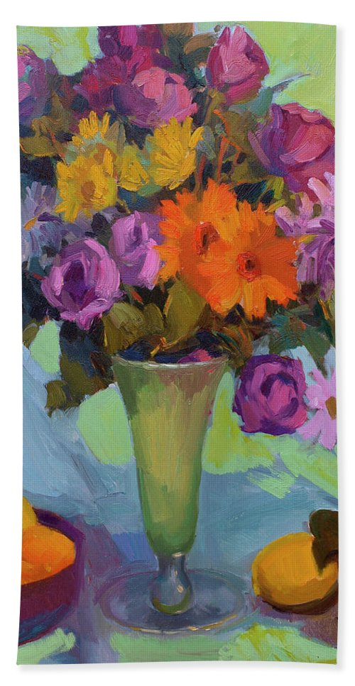 Spring Still Life Bath Sheet featuring the painting Spring Still Life by Diane McClary