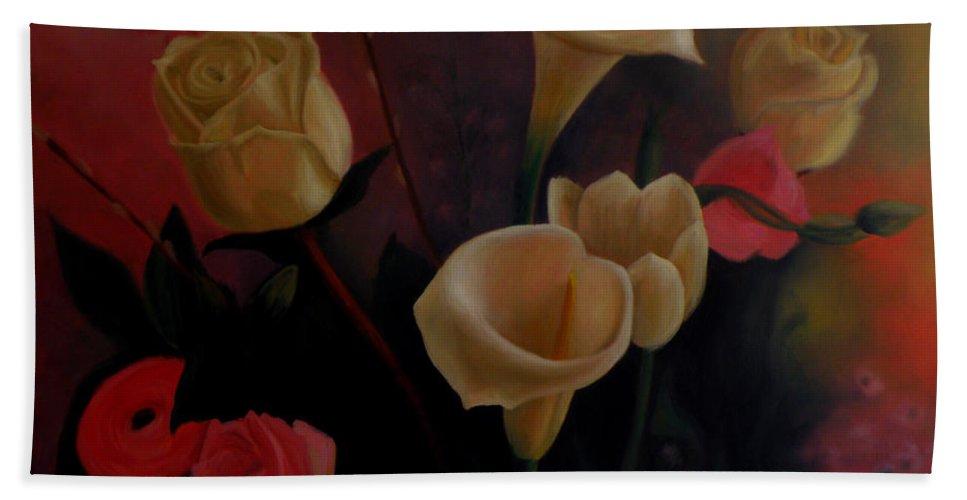 Flowerpaintings Paintings Of Flowers Spring Nature Oilpaintings Lilies Paintings Spring Nature Flowers Bath Sheet featuring the painting Spring Still Life by George Tuffy