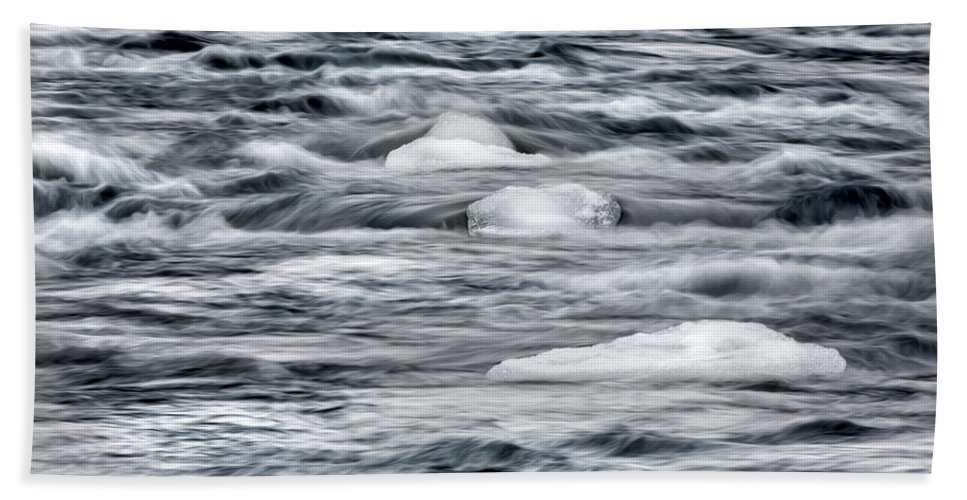 River Hand Towel featuring the photograph Spring Thaw by Bill Wakeley