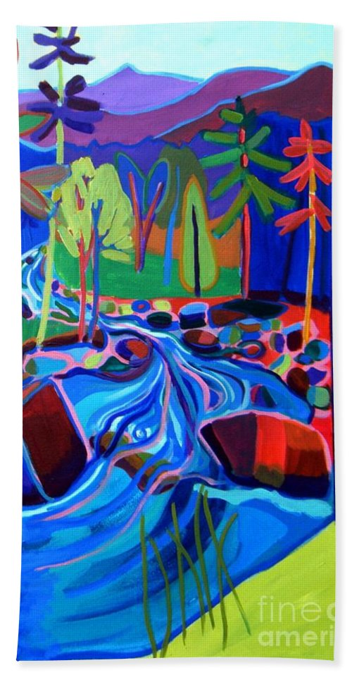 Landscape Hand Towel featuring the painting Spring Thaw Wildcat River Jackson NH by Debra Bretton Robinson
