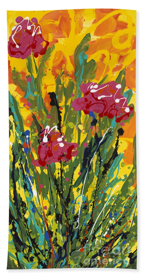 Spring Hand Towel featuring the painting Spring Tulips Triptych Panel 3 by Nadine Rippelmeyer