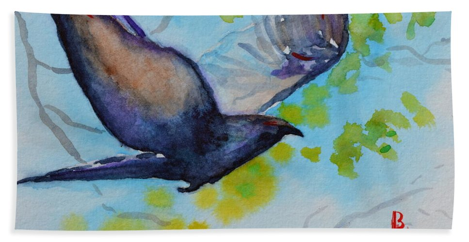 Crow Hand Towel featuring the painting Spring Wings by Beverley Harper Tinsley