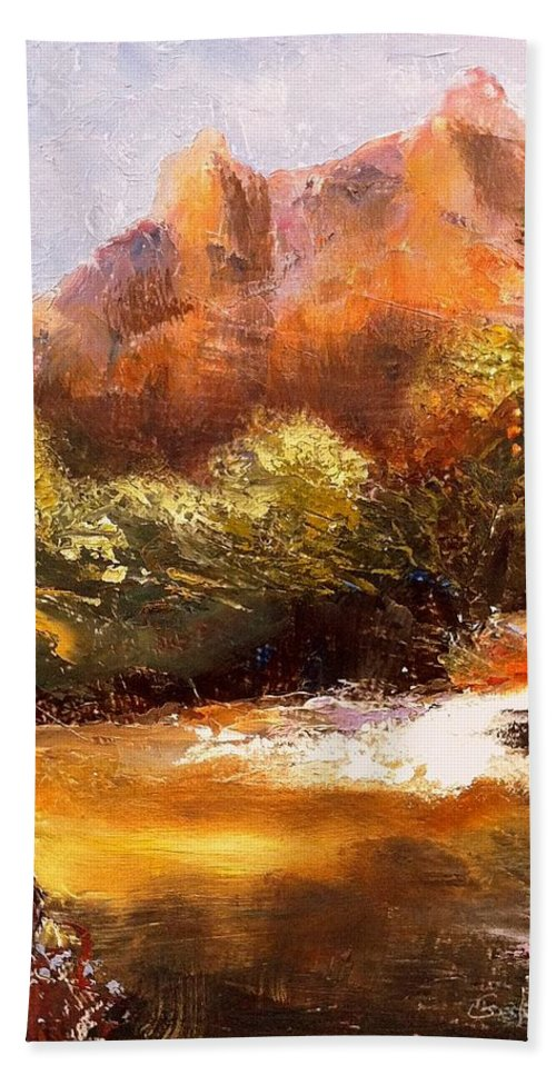 Landscape Bath Towel featuring the painting Springs In The Desert by Gail Kirtz