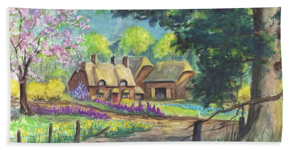 Hand Painted Bath Sheet featuring the painting Springtime Cottage by Carol Wisniewski