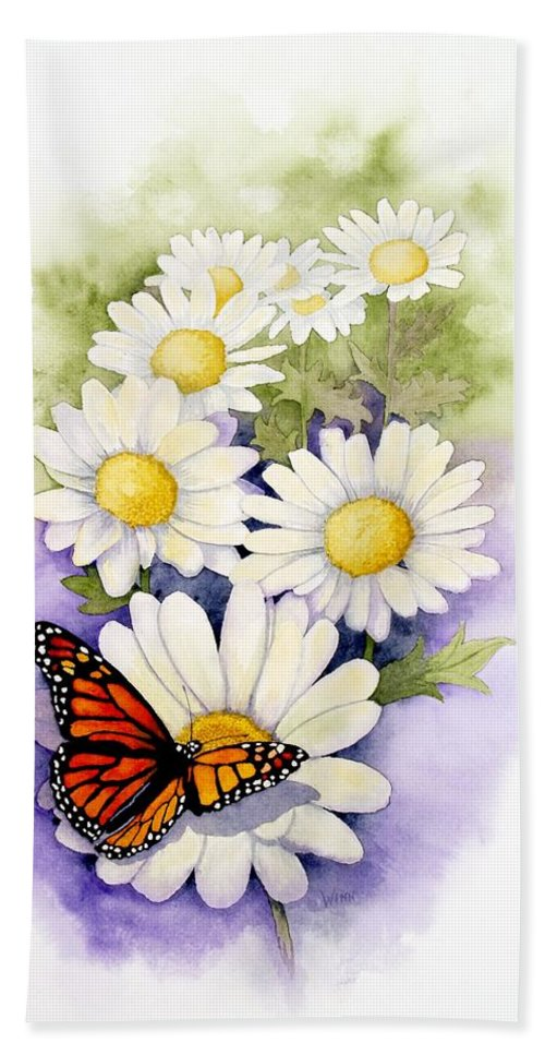 Watercolor Floral Hand Towel featuring the painting Springtime Daisies by Brett Winn