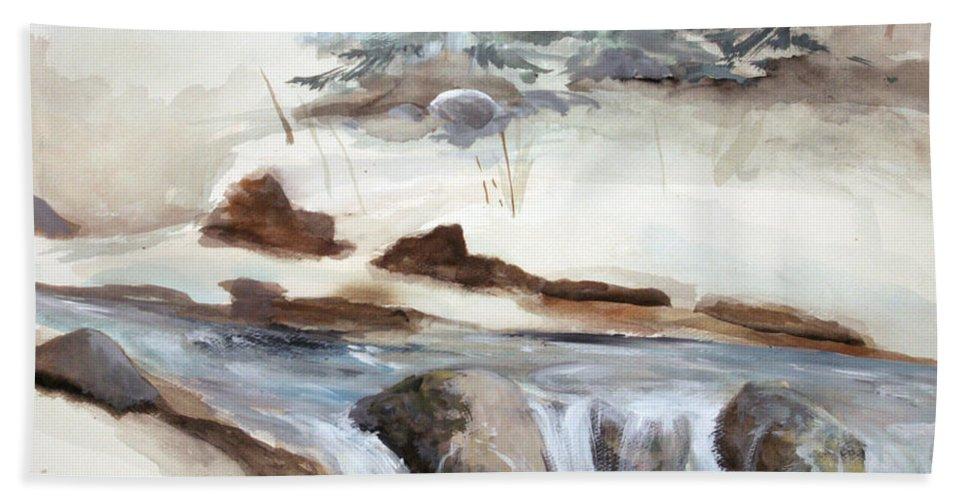Rick Huotari Hand Towel featuring the painting Springtime by Rick Huotari